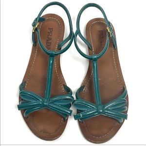 Prada Teal Patent Leather T-Strap Bow Sandals
